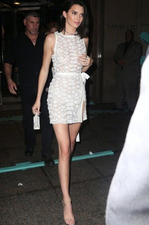 Kendall Jenner Sequins White Wrap Dress