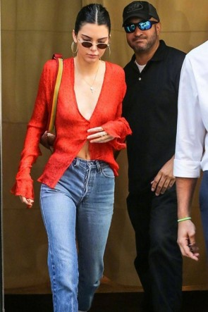 Kendall Jenner Sexy Deep V-Neck Orange Print Blouse
