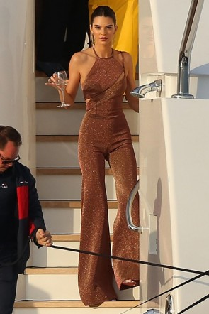 Kendall Jenner Sleeveless Halter Cut Out Jumpsuit