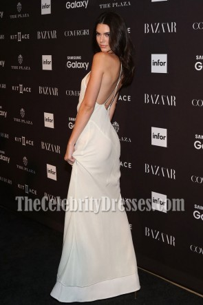 KENDALL JENNER WHITE BACKLESS EVENING PROM DRESS HARPER'S BAZAAR PARTY  TCD6931
