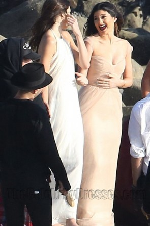 Kendall Jenner White Backless Prom Evening Dresses