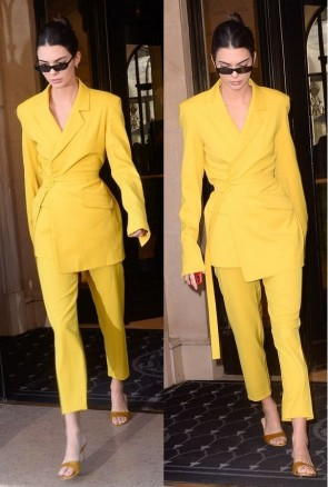 Kendall Jenner Bright Yellow Suit & Pants TCDXH8405