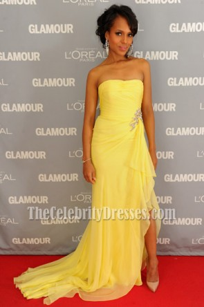 Kerry Washington Yellow Strapless Dress Glamour's 2011 Women of the Year Awards Red Carpet