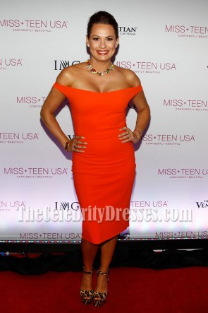 Keylee Sanders Red Off-the-shoulder Party Gown  2016 Miss Teen USA Competition 1