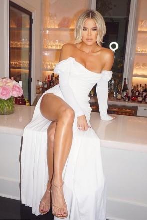 khloe Kardashian Sexy White Dress 2020 Oscar After Part