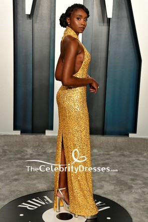 Kiki Layne Gold Sequined Sheath Formal Dress TCD8864