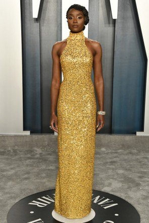 Kiki Layne Gold Sequined Sheath Formal Dress