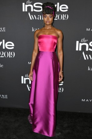 Kiki Layne Strapless Two-tone Dress 2019 InStyle Awards