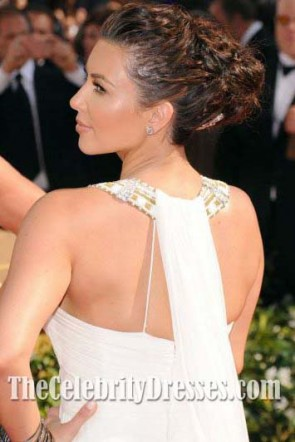 Kim Kardashian White Evening Dresses 2010 Emmy Awards Red Carpet