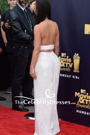 Kim Kardashian White And Silver Two Pieces Maxi Dress 2018 MTV Movie And TV Awards TCD7910
