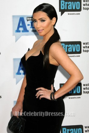 Kim Kardashian Black Cocktail Dress Bravo A-List Awards