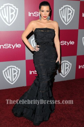 Kim Kardashian Black Mermaid Evening Dress Golden Globes 2011