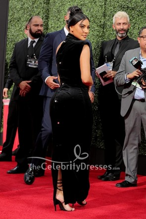 Kim Kardashian Black One Shoulder Dress 2019 Creative Arts Emmy Awards  TCD8640