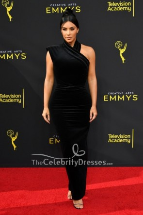 Kim Kardashian Black One Shoulder Dress 2019 Creative Arts Emmy Awards