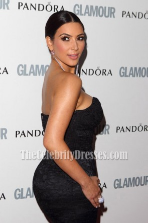 Kim Kardashian Black Lace Evening Dress Glamour-Women-of-the-Year-Awards