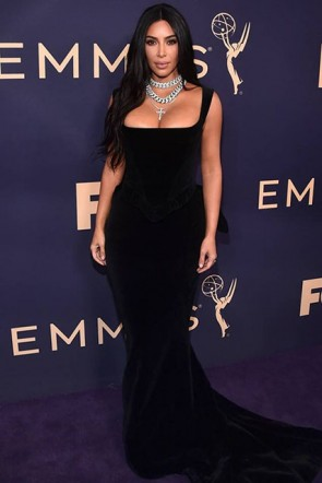 Kim Kardashian Square Black Gown 2019 Emmys Awards