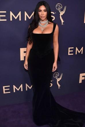 Kim Kardashian Square Black Gown 2019 Emmys Awards