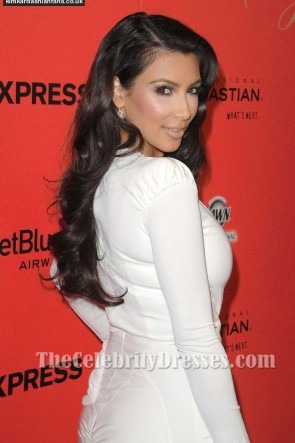 Kim Kardashian White Cocktail Dress Hollywood Style Awards