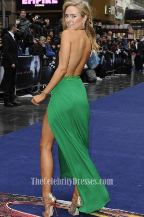 Kimberley Garner Green Stitching  Backless Evening Dress Halter V-Neck High Slit Prom Gown TCD6717