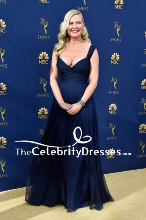 Kirsten Dunst Navy Pleated A-line Evening Dress 2018 Emmys