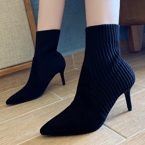 Knit Suede Pointed Toe Stiletto Heels Ankle Boots