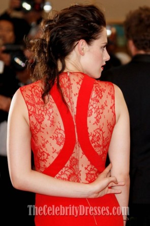 Kristen Stewart Red V-neck Evening Prom Dress Cannes 2012 Red Carpet Gown