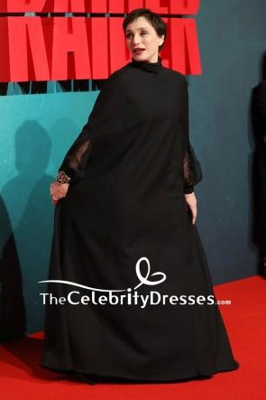 Kristin Scott Thomas Black Caped Sleeves Long Evening Formal Dress European Premiere Of Tomb Raider TCD7809