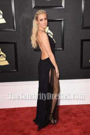 Kristin Cavallari Black Deep V-neck High Slit Evening Dress 2017 Grammy Awards TCD7147