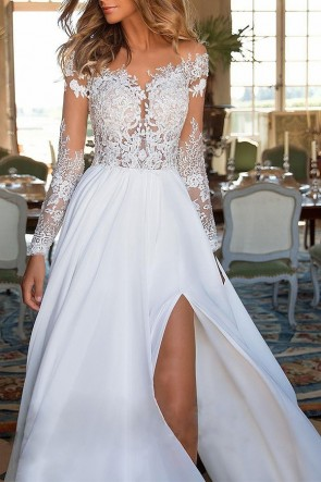 White Off-the-Shoulder Lace Applique A-Line Dress with High Split