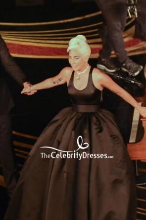 Lady Gaga Black Cut Out Ball Gown 2019 Oscars Performance