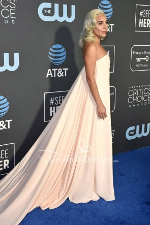 Lady Gaga Light Pink Strapless Column Dress Critics' Choice Awards 2019 TCD8248
