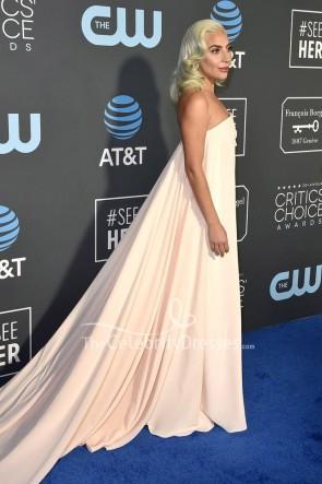 Lady Gaga Light Pink Strapless Column Dress Critics' Choice Awards 2019 TCD8248