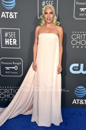 Lady Gaga Light Pink Strapless Column Dress Critics' Choice Awards 2019