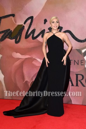 Lady Gaga Black Backless Long Evening Dress Fashion Awards 2016