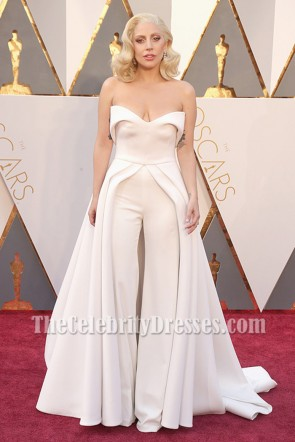 Lady Gaga Ivory Strapless Backless Formal Jumpsuit Evening Dress Oscars 2016 TCD6956