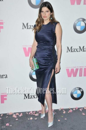 Lake Bell Dark Navy High Slit Sheath Midi Dress 2017 Crystal And Lucy Awards TCD7341