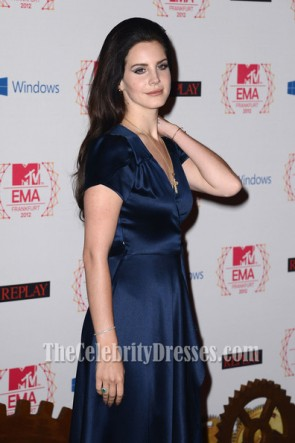 Lana Del Rey Dark Navy Evening Dress 2012 Europe Music Awards Red Carpet