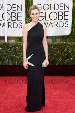 Laura Carmichael 2015 Golden Globe Awards One Shoulder Slim Evening Dress