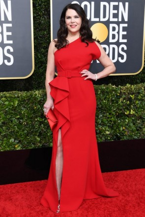 Lauren Graham Red One-shoulder Evening Dress 2020 Golden Globes