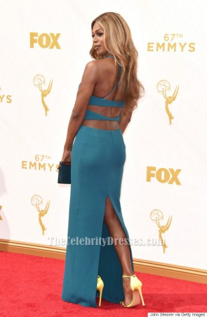 Laverne Cox Blue Backless Evening Dress 2015 Emmys Red Carpet TCD6318