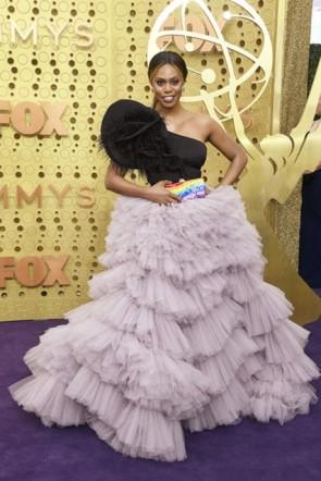 Laverne Cox One-Shoulder Ruffled Dress 2019 Emmys Awards