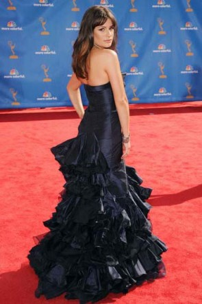 Lea Michele Mermaid Navy Evening Formal Dress 62nd Emmy Awards