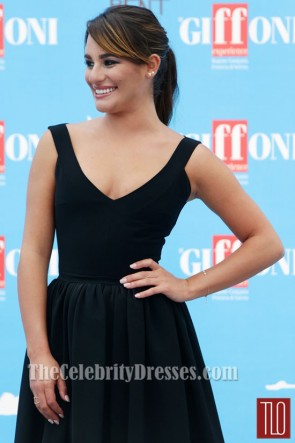 Lea Michele Black Cocktail Dresses Giffoni Film Festival