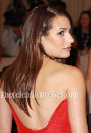 Lea Michele Red Formal Evening Dresses Met Gala 2011 Red Carpet Gown
