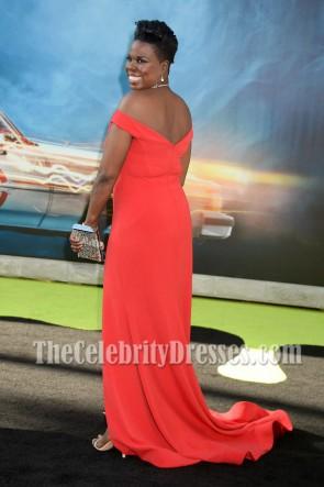 Leslie Jones Red Off-the-shoulder High Slit Evening Dress Ghostbusters Premiere 2016 TCD6892