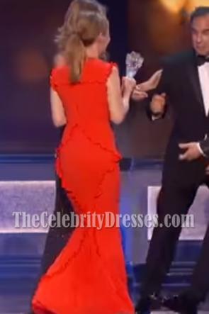 Leslie Mann Orange Ruffle Long Evening Dress 22nd Annual Critics' Choice Awards TCD7060
