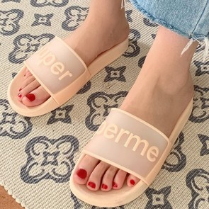 Letter Print Decor Open Toe Sliders