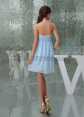 Light Sky Blue Chiffon Sweetheart Cocktail Party Dresses