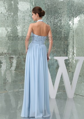 Light Sky Blue Halter Floor Length Prom Gown Evening Dress