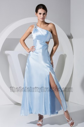 Sexy Light Sky Blue One Shoulder Prom Gown Evening Dress